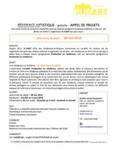 Appel de projet, RURART Été 2018