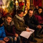 Moment de la récolte - échanges entre public et artistes