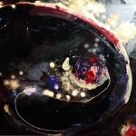Amelie Lemay-Choquette, peinture sur verre, suspendu dans l'espace